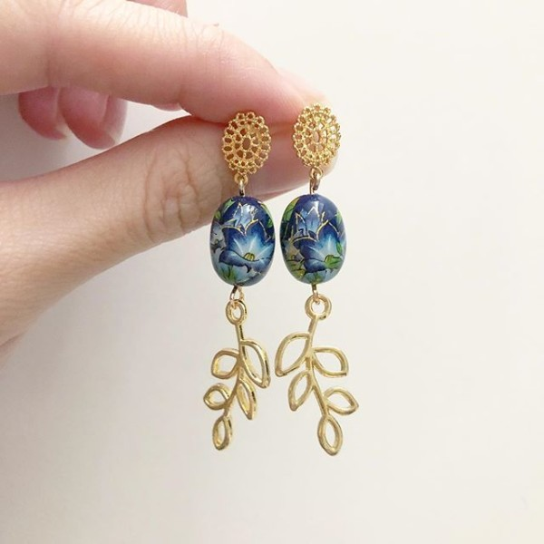 Gold and Blue Lillies Earrings - Diary of a Miniature Enthusiast