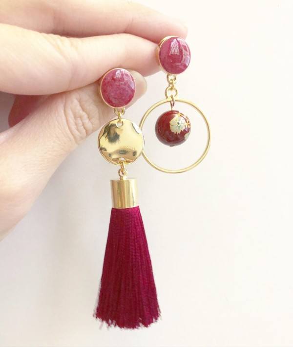 Wine Red Asymmetrical Earrings with Premium Short Silk Tassels - Diary of a Miniature Enthusiast