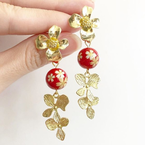 Red Sakura Gold Petals Floral Earrings - Diary of a Miniature Enthusiast