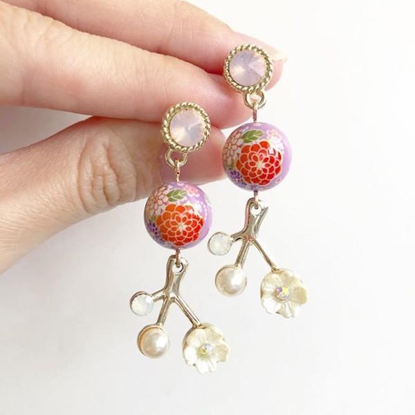 Purple Sakura Bouquet Floral Dangle Earrings - Diary of a Miniature Enthusiast