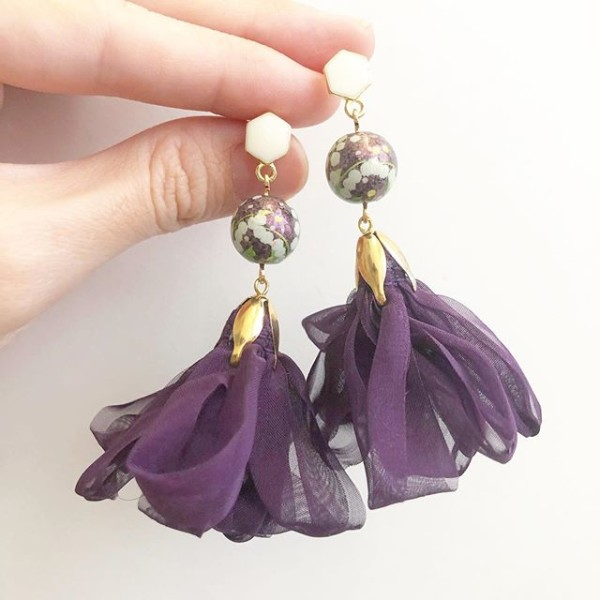 Royal Purple Feathergrass Ribbon Flare Earrings - Diary of a Miniature Enthusiast
