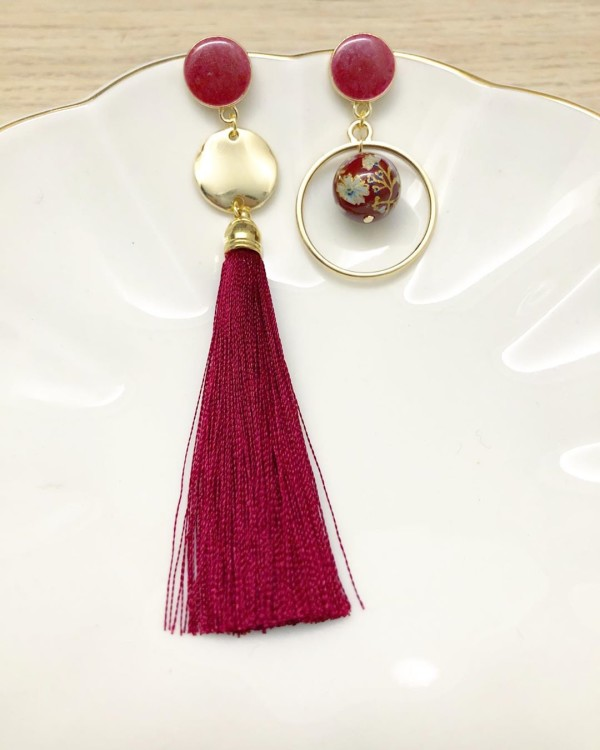 Wine Red Asymmetrical Earrings with premium silk tassels - Diary of a Miniature Enthusiast