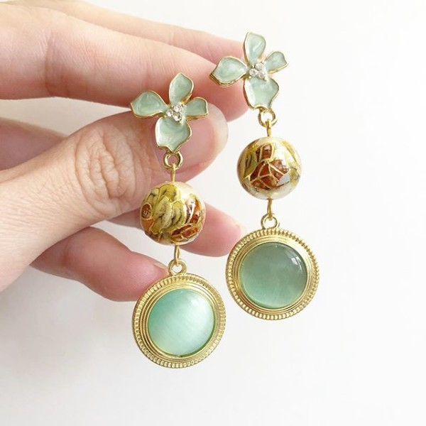 Pearl Vintage Flower Long Opal Earrings - Diary of a Miniature Enthusiast