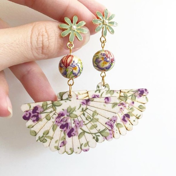 Purple Wildflowers Floral Fan Earrings - Diary of a Miniature Enthusiast