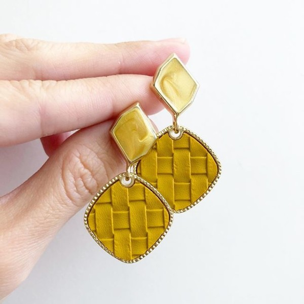 Mustard Yellow Weave Leather on Irregular Stud Earrings - Diary of a Miniature Enthusiast