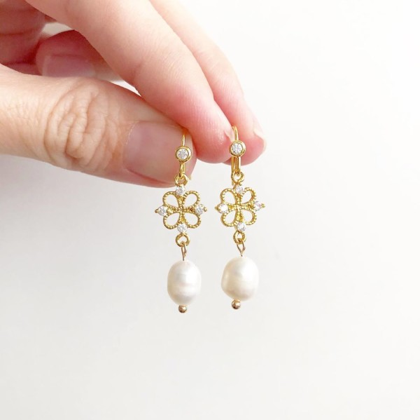 Purity Dainty Earrings (Freshwater pearls and cubic zirconia link - Diary of a Miniature Enthusiast