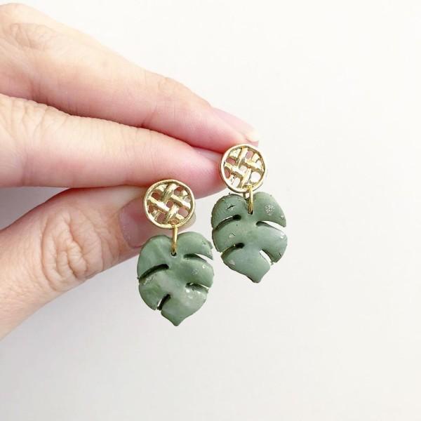 Christmas Romance Monstera Leaf Earrings - Diary of a Miniature Enthusiast