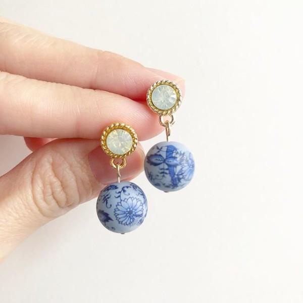 Porcelain Vintage Blue Rhinestone Earrings - Diary of a Miniature Enthusiast