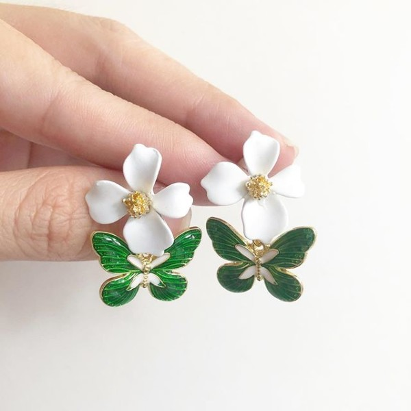 Garden Butterfly Emerald Earrings - Diary of a Miniature Enthusiast