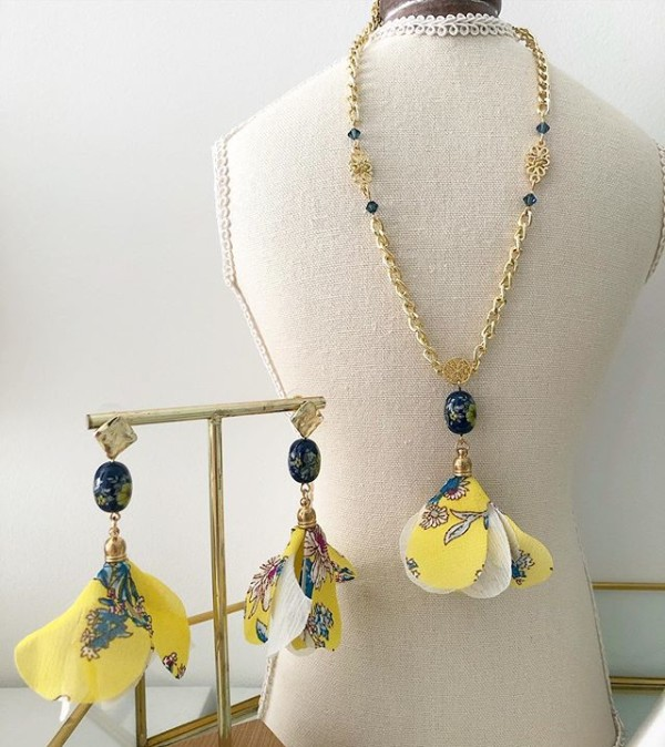 Yellow Marigold Organza Floral Dangle Necklace and Earrings - Diary of a Miniature Enthusiast
