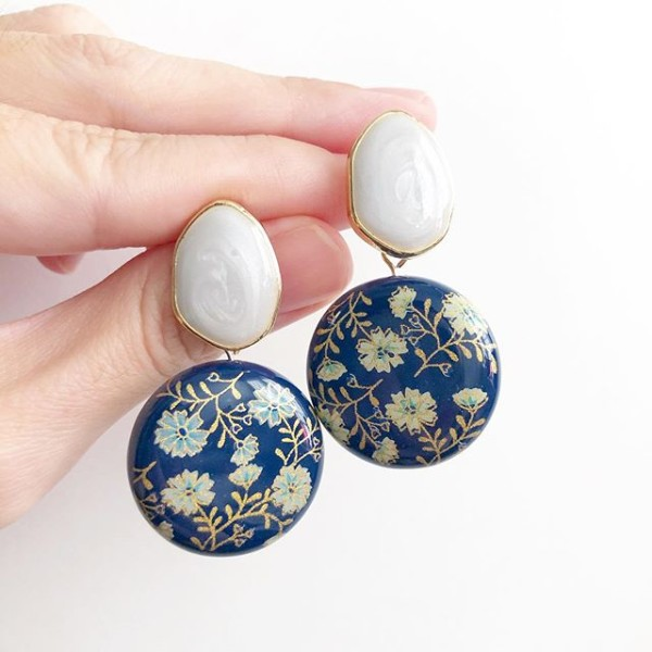 Navy Daffodils Lilac Studs Statement Tensha Earrings - Diary of a Miniature Enthusiast