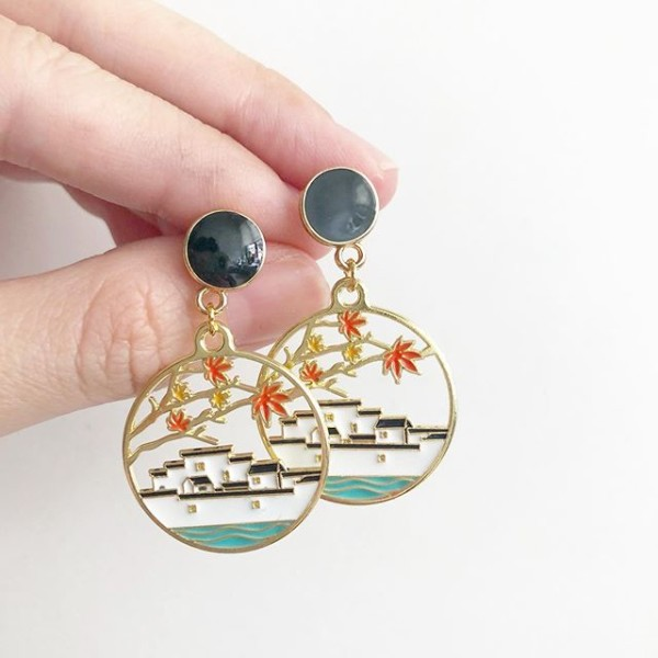 Mid Autumn Blessings Floating Palace Earrings - Diary of a Miniature Enthusiast