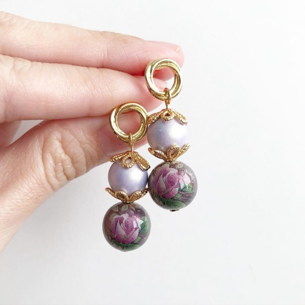 Purple Rose Earrings - Diary of a Miniature Enthusiast