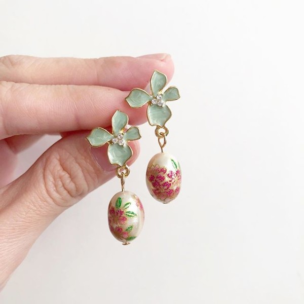 Pearl Sakura with Sage Floral Earrings - Diary of a Miniature Enthusiast
