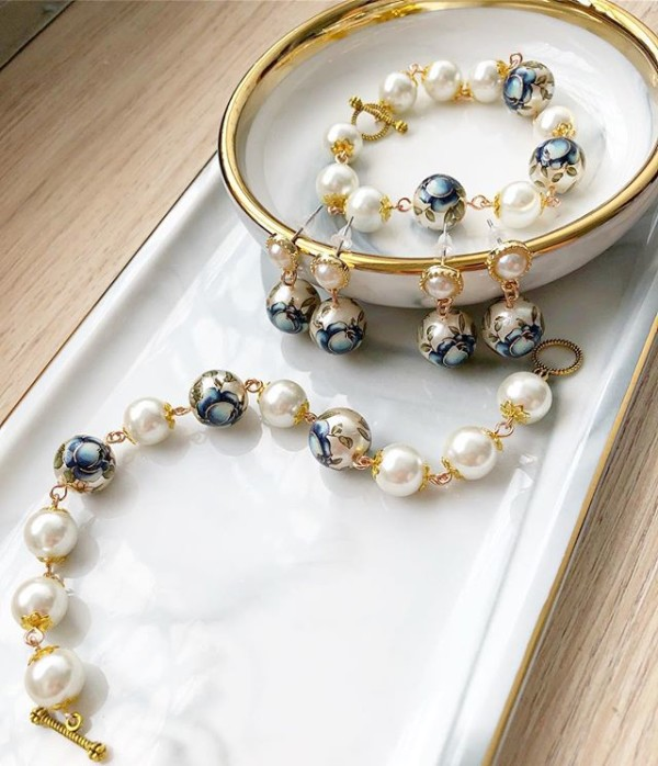 Pearls with Blue Floral Earrings and Bracelets - Diary of a Miniature Enthusiast