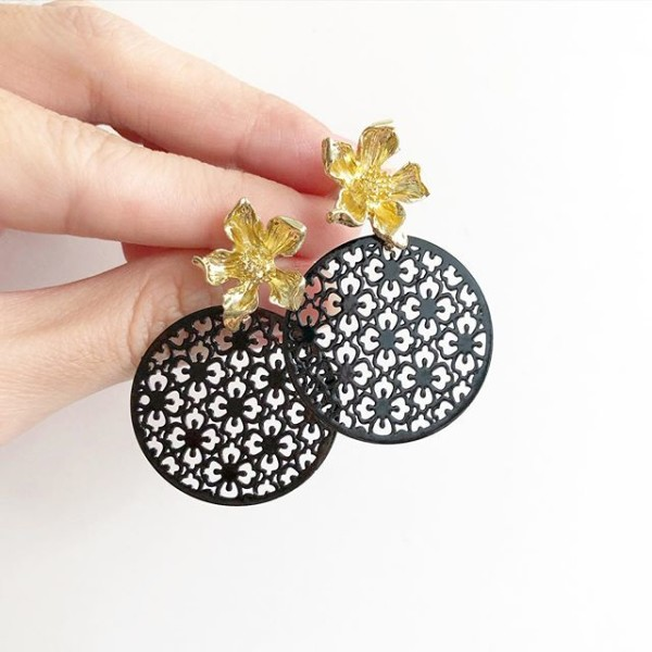 Gold and Black Floral Screen Earrings - Diary of a Miniature Enthusiast