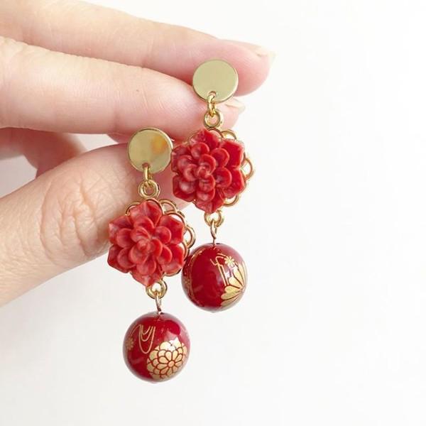 Springtime Blossoms Wine Red Kimono Earrings - Diary of a Miniature Enthusiast