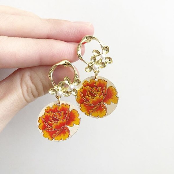 Orange Peony Engraved Earrings - Diary of a Miniature Enthusiast