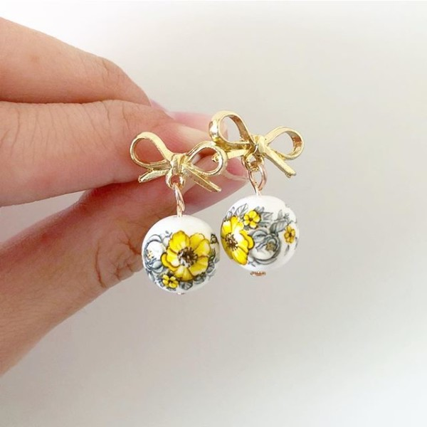 Yellow and Gold Bow Floral Earrings - Diary of a Miniature Enthusiast