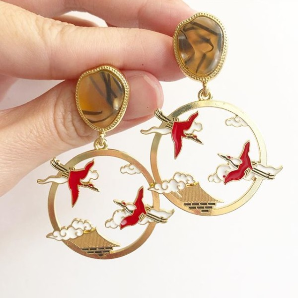 Red Crane Statement Earrings - Diary of a Miniature Enthusiast