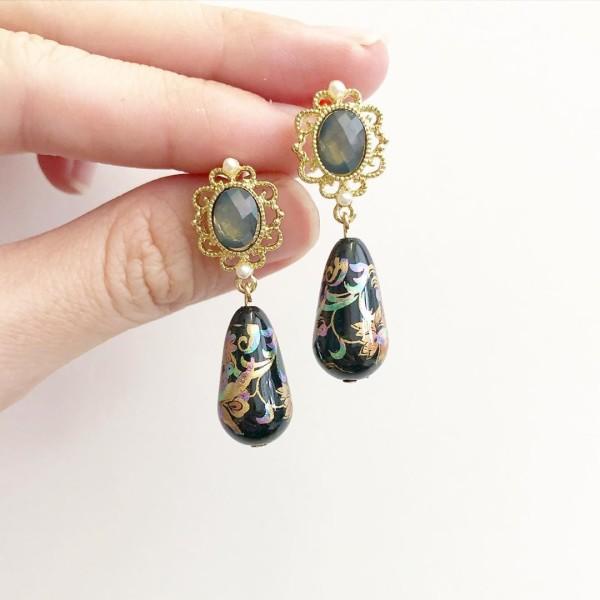 Mystic Swirls II Victorian Teardrop Earrings - Diary of a Miniature Enthusiast