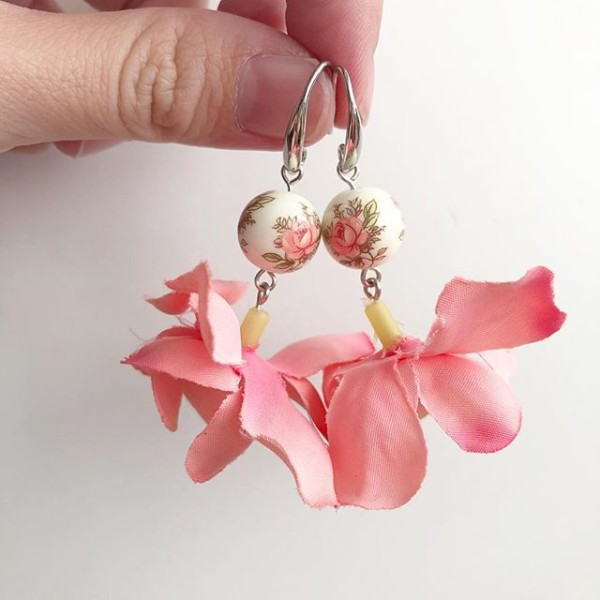 Pink Floral Earrings - Diary of a Miniature Enthusiast
