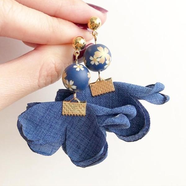 Blue Sakura Denim Flare Earrings - Diary of a Miniature Enthusiast