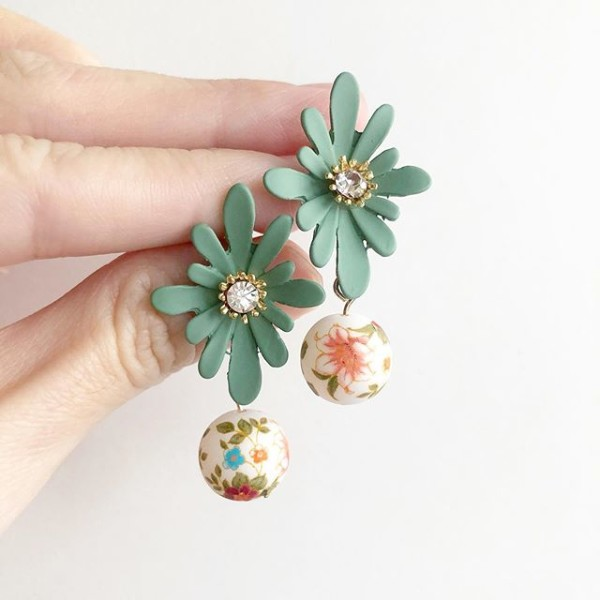 Orange Lily Leaf Green Floral Earrings - Diary of a Miniature Enthusiast