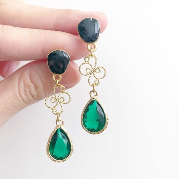 Emerald Lane Teardrop Swirls Earrings - Diary of a Miniature Enthusiast
