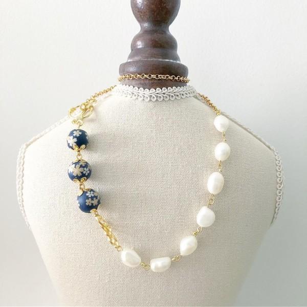 Navy Sakura Necklace - Diary of a Miniature Enthusiast
