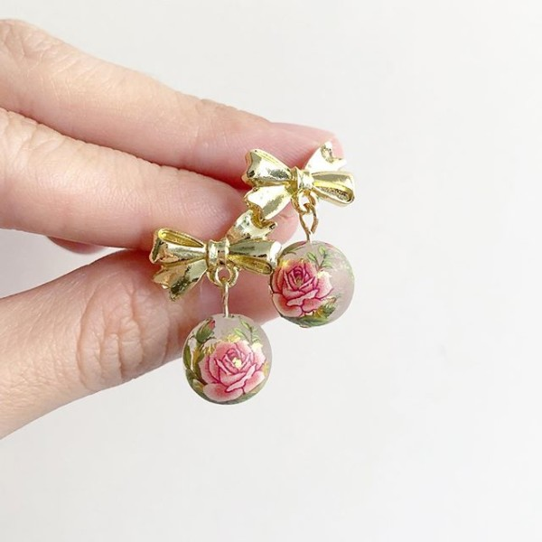 Pink Frosted Rose on Ribbon Earrings - Diary of a Miniature Enthusiast