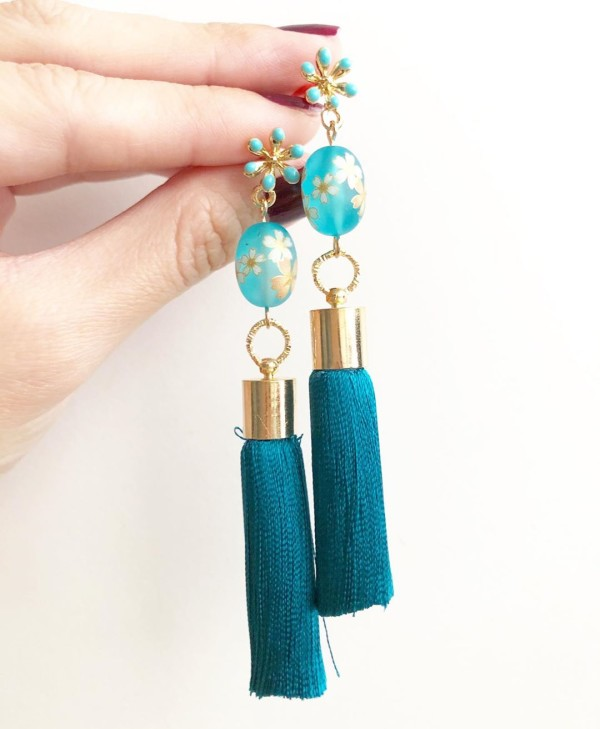 Turquoise Sakura Premium Silk Tassels Earrings - Diary of a Miniature Enthusiast