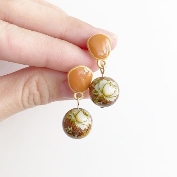 Metallic Camelia Tensha Bead Earrings - Diary of a Miniature Enthusiast