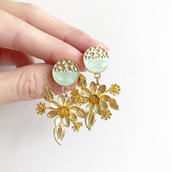 Gold and Mint Green Floral Earrings  - Diary of a Miniature Enthusiast