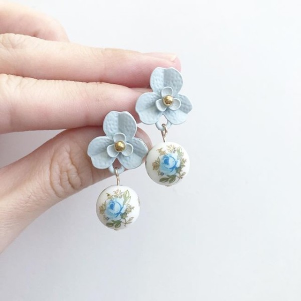 Pastel Blue Rose Floral Earrings - Diary of a Miniature Enthusiast
