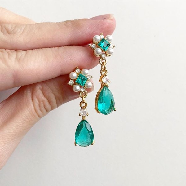 Precious Sea Green Teardrop Earrings - Diary of a Miniature Enthusiast