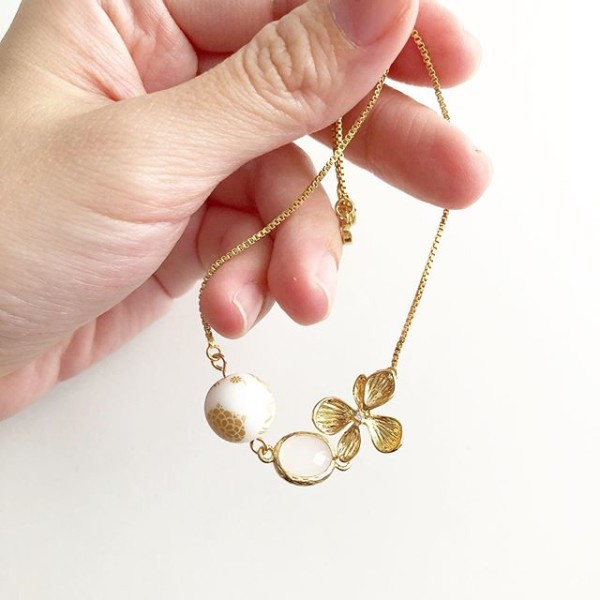Matte white and gold floral adjustable bracelet - Diary of a Miniature Enthusiast