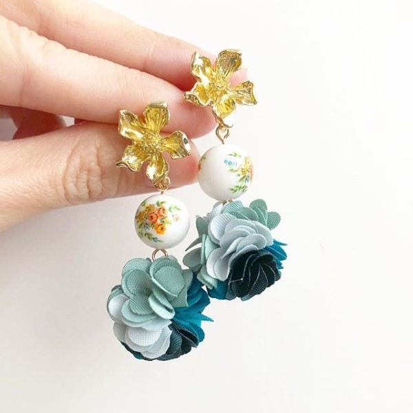 Floral Bouquet Flower Pompoms Earrings - Diary of a Miniature Enthusiast