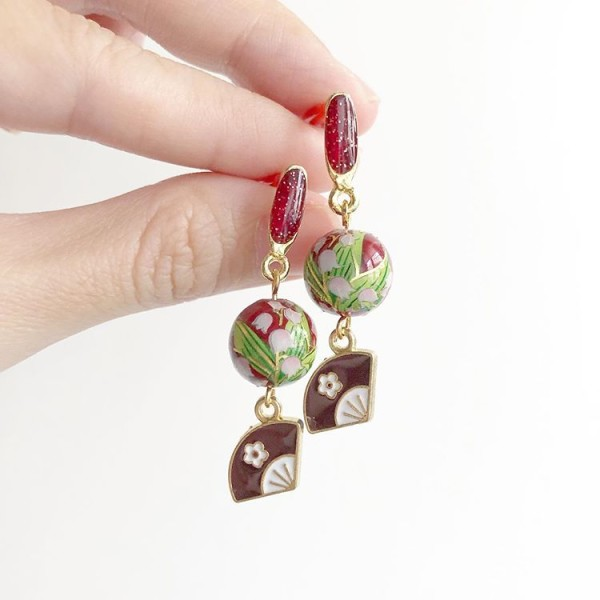 Red and Brown Floral Earrings - Diary of a Miniature Enthusiast