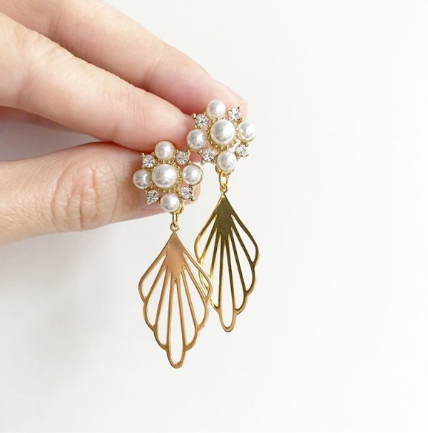 Gold with Pearls Floral Earrings - Diary of a Miniature Enthusiast
