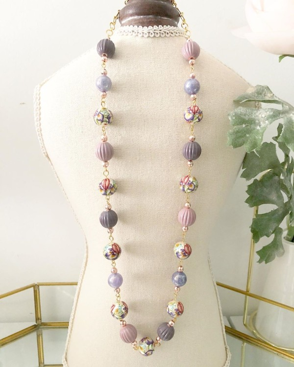 Lilac Wildflowers Long Necklace - Diary of a Miniature Enthusiast