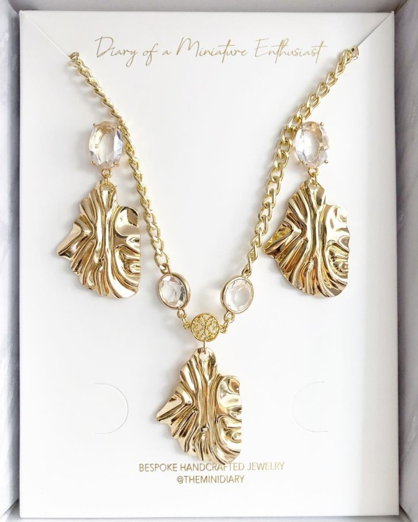 Gold Leaf Necklace and Earrings - Diary of a Miniature Enthusiast