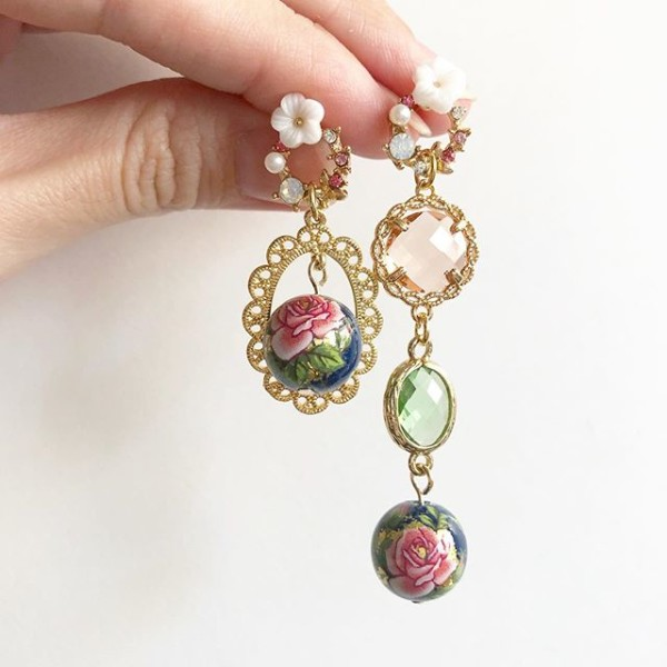 Classic Rose In Navy Asymetrical Earrings - Diary of a Miniature Enthusiast