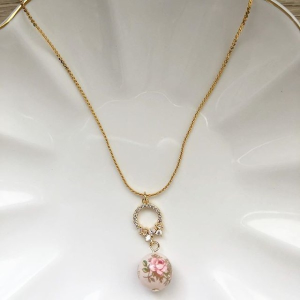 Pastel Pink Rose in Light Blush Cubic Zirconia Necklace - Diary of a Miniature Enthusiast