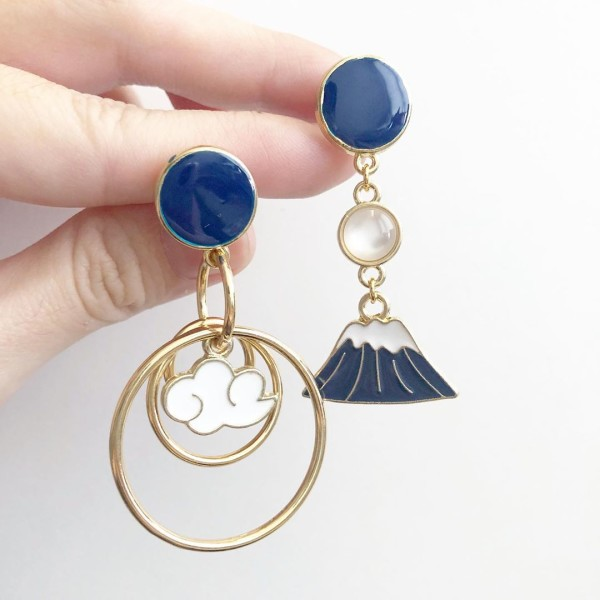 Mt Fuji in the Clouds Asymmetrical Earrings - Diary of a Miniature Enthusiast
