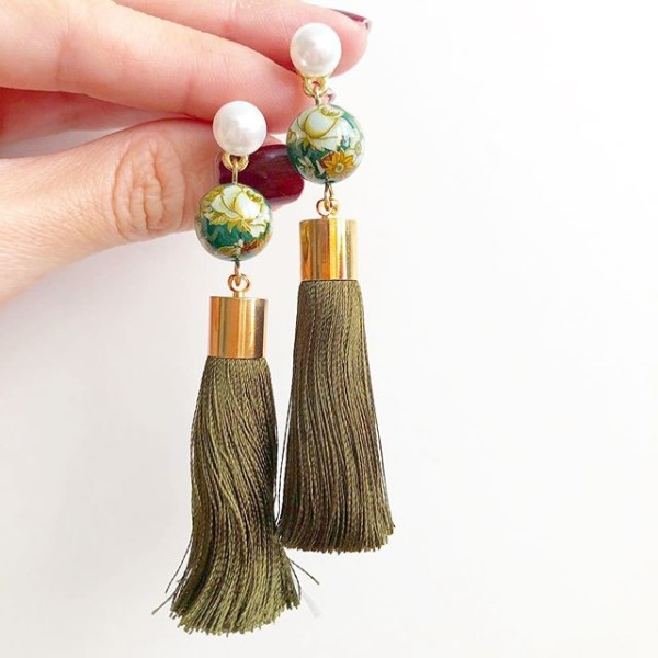Green Vintage Florals Olive Tassel Earrings - Diary of a Miniature Enthusiast