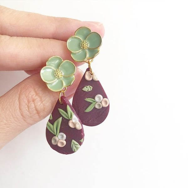 Blooms of Splendour Teardrop Floral Dangle Earrings - Diary of a Miniature Enthusiast