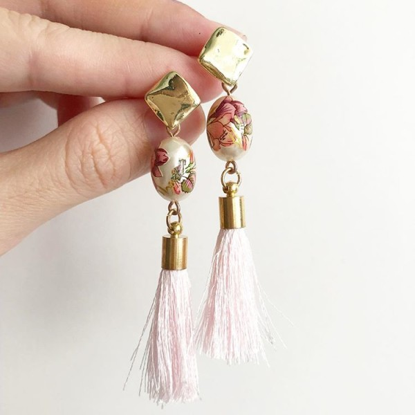 Gold and Pink Tassels Earrings - Diary of a Miniature Enthusiast