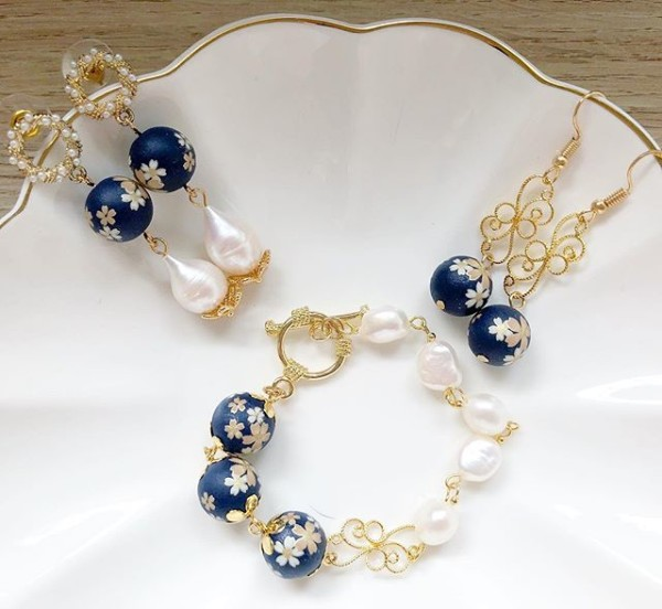 Navy Blue Sakura Floral Bracelet only - Diary of a Miniature Enthusiast