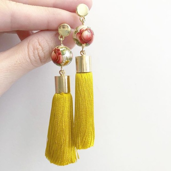 Pearl Red Rose Mustard Yellow Silk Tassels Earrings - Diary of a Miniature Enthusiast